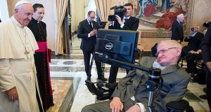 CORRECTION - This handout photo taken and released by the Osservatore Romano on November 28, 2016, shows Pope Francis (L) meeting with English theoretical physicist and cosmologist Stephen Hawking at the Vatican. / AFP PHOTO / OSSERVATORE ROMANO / - / The erroneous mentions appearing in the metadata of this photo  has been modified in AFP systems in the following manner: [BYLINE: STR / SOURCE: OSSERVATORE ROMANO / and adding RESTRICTIONS: XGTY] instead of [BYLINE: FILIPPO MONTEFORTE / SOURCE: AFP]. Please immediately remove the erroneous mentions from all your online services and delete them from your servers. If you have been authorized by AFP to distribute it to third parties, please ensure that the same actions are carried out by them. Failure to promptly comply with these instructions will entail liability on your part for any continued or post notification usage. Therefore we thank you very much for all your attention and prompt action. We are sorry for the inconvenience this notification may cause and remain at your disposal for any further information you may require.