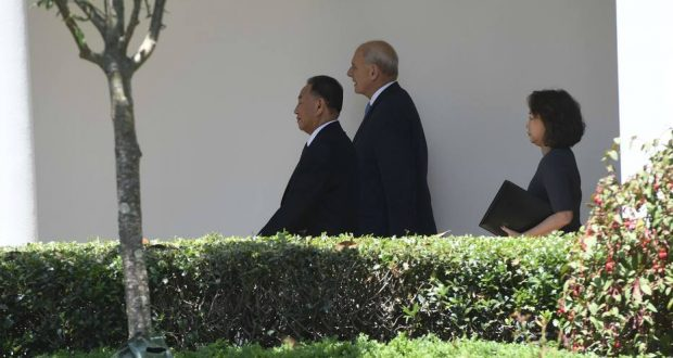"White House Chief of Staff John Kelly (C) escortse North Korean Kim Yong Chol (L) to the White House on June 1, 2018 in Washington,DC. US President Donald Trump is to receive a letter from his North Korean counterpart Kim Jong Un on Friday, a much-anticipated moment as preparations for a historic nuclear summit gain pace. Kim's right-hand man, Kim Yong Chol, traveled to Washington a day after talks in New York with Secretary of State Mike Pompeo making what the US diplomat called ""real progress"" towards holding the planned June 12 summit.  / AFP PHOTO / Saul LOEB"