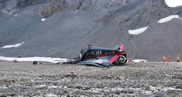 "This handout picture taken and released by the Grisons Cantonal Police (Police Cantonale des Grisons) on August 5, 2018, shows the wreckage of a Junkers JU52 aircraft in Flims, after it crashed into Piz Segnas, a 3,000-metre (10,000-foot) peak in eastern Switzerland on August 4. Twenty people are confirmed dead after a vintage World War II aircraft crashed into a Swiss mountainside, police reports said. The Junker JU52 HB-HOT aircraft, built in Germany in 1939 and now a collectors item, belongs to JU-Air, a company with links to the Swiss air force, the ATS news agency reported. / AFP PHOTO / Police Cantonale des Grisons / Handout / RESTRICTED TO EDITORIAL USE - MANDATORY CREDIT ""AFP PHOTO / POLICE CANTONALE DES GRISONS"" - NO MARKETING NO ADVERTISING CAMPAIGNS - DISTRIBUTED AS A SERVICE TO CLIENTS"