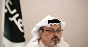(FILES) In this file photo taken on December 15, 2014, general manager of Alarab TV, Jamal Khashoggi, looks on during a press conference in the Bahraini capital Manama. - Turkish police believe that prominent Saudi journalist and critic Jamal Khashoggi was murdered inside the Saudi mission in Istanbul after he went missing on October 2, 2018, according to an unnamed government official. (Photo by MOHAMMED AL-SHAIKH / AFP)