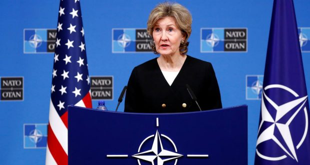 U.S. Ambassador to NATO Kay Bailey Hutchison briefs the media ahead of a NATO defence ministers meeting at the Alliance headquarters in Brussels, Belgium, October 2, 2018. REUTERS/Francois Lenoir