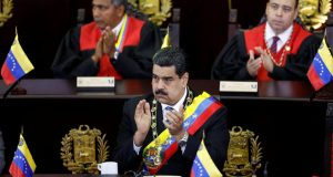 Venezuela's President Nicolas Maduro attends a ceremony to mark the opening of the judicial year at the Supreme Court of Justice (TSJ) in Caracas, Venezuela February 14, 2018. REUTERS/Marco Bello