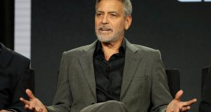 """Actor, executive producer, and director George Clooney speaks on a panel for the Hulu series """"Catch-22"""", during the Television Critics Association (TCA) Winter Press Tour in Pasadena, California, U.S., February 11, 2019.  REUTERS/Lucy Nicholson"""