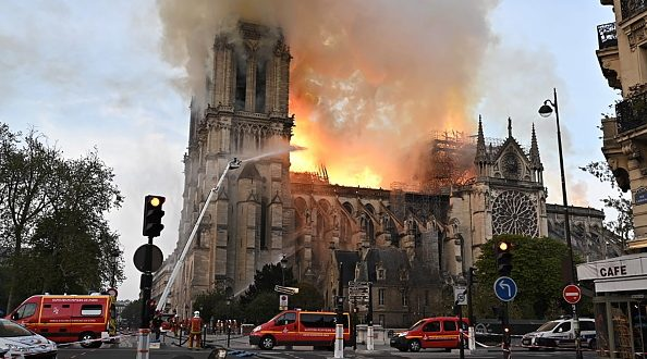 PARIS, FRANCE - APRIL 15, 2019: Notre-Dame de Paris, a Catholic cathedral founded in the 11th century, has caught fire. Best quality available. Stoyan Vassev/TASS (Photo by Stoyan VassevTASS via Getty Images)