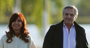 Presidential candidate Alberto Fernandez and running mate Cristina Fernandez attend a campaign rally in Santa Rosa, Argentina October 17, 2019. REUTERS/Agustin Marcarian