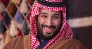 "A handout picture provided by the Saudi Royal Palace on January 12, 2020, shows Saudi Crown Prince Mohammed bin Salman meeting with Japan's Prime Minister in the town of al-Ula in northwestern Saudi Arabia - Japan's premier arrived in Saudi Arabia at the start of a Gulf tour during which he hopes to ease tensions after the US killed a top Iranian general. During his five-day tour, Abe will also visit the United Arab Emirates and Oman, where a new ruler was sworn in on Saturday following the death of modern day Oman's founding father Sultan Qaboos. (Photo by Bandar AL-JALOUD / various sources / AFP) / RESTRICTED TO EDITORIAL USE - MANDATORY CREDIT ""AFP PHOTO / SAUDI ROYAL PALACE / BANDAR AL-JALOUD"" - NO MARKETING - NO ADVERTISING CAMPAIGNS - DISTRIBUTED AS A SERVICE TO CLIENTS"