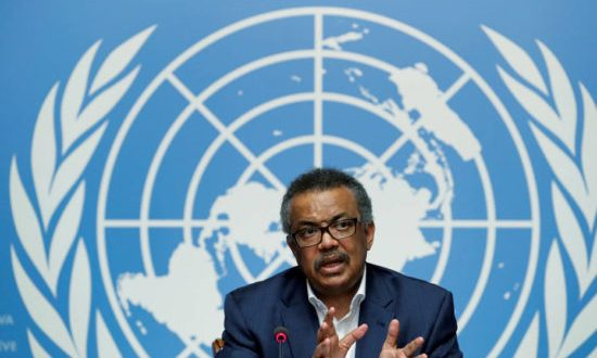 FILE PHOTO: Director-General of the World Health Organization (WHO) Tedros Adhanom Ghebreyesus attends a news conference at the United Nations in Geneva, Switzerland, August 14, 2018.  REUTERS/Denis Balibouse/File Photo