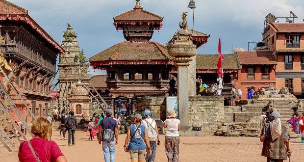 Kathmandu, Nepal - November 04, 2016: Tourists walking in Kathmandu streets Nepal, Asia.